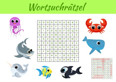 Wortsuchrätsel - Word search puzzle. Clip cards game template. Kids activity worksheet colorful printable version. Educational game for study German words. Includes answers. Vector stock illustration