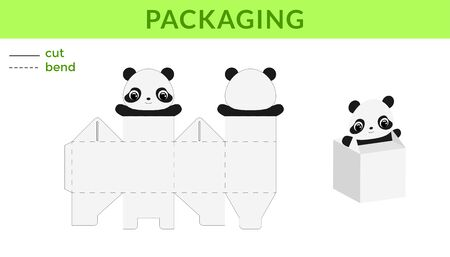 Adorable DIY party favor box for birthdays, baby showers with cute panda for sweets, candies, small presents. Printable color scheme. Print, cut out, fold, glue. Vector stock illustration. Ilustração