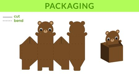 Adorable DIY party favor box for birthdays, baby showers with cute bear for sweets, candies, small presents. Printable color scheme. Print, cut out, fold, glue. Vector stock illustration.