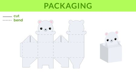 Adorable DIY party favor box for birthdays, baby showers with cute polar bear for sweets, candies, small presents. Printable color scheme. Print, cut out, fold, glue. Vector stock illustration.