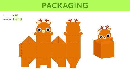 Adorable DIY party favor box for birthdays, baby showers with cute deer for sweets, candies, small presents. Printable color scheme. Print, cut out, fold, glue. Vector stock illustration.