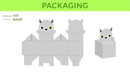 Adorable DIY party favor box for birthdays, baby showers with cute lemur for sweets, candies, small presents. Printable color scheme. Print, cut out, fold, glue. Vector stock illustration.