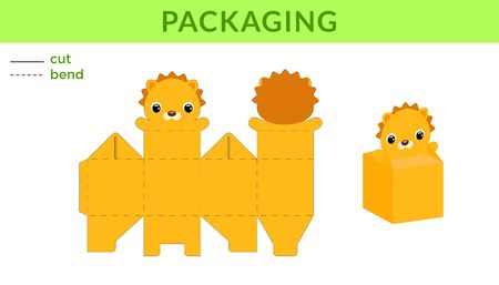 Adorable DIY party favor box for birthdays, baby showers with cute lion for sweets, candies, small presents. Printable color scheme. Print, cut out, fold, glue. Vector stock illustration.