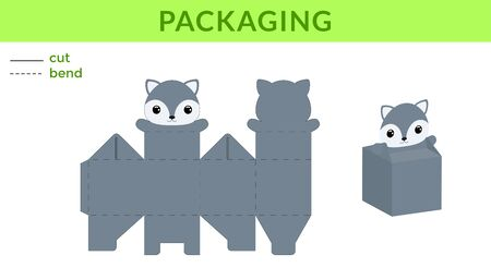 Adorable DIY party favor box for birthdays, baby showers with cute wolf for sweets, candies, small presents. Printable color scheme. Print, cut out, fold, glue. Vector stock illustration. Ilustração