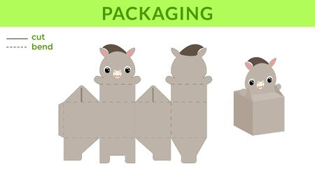 Adorable DIY party favor box for birthdays, baby showers with cute donkey for sweets, candies, small presents. Printable color scheme. Print, cut out, fold, glue. Vector stock illustration.
