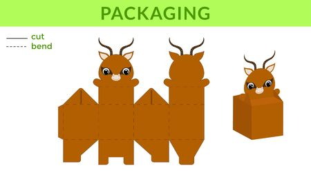 Adorable DIY party favor box for birthdays, baby showers with cute gazelle for sweets, candies, small presents. Printable color scheme. Print, cut out, fold, glue. Vector stock illustration.