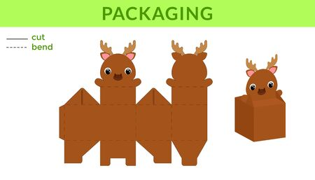 Adorable DIY party favor box for birthdays, baby showers with cute moose for sweets, candies, small presents. Printable color scheme. Print, cut out, fold, glue. Vector stock illustration. Ilustração