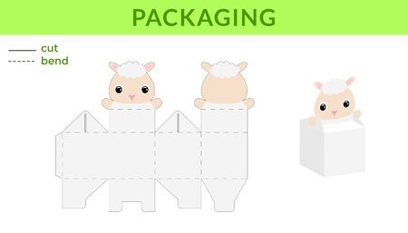 Adorable DIY party favor box for birthdays, baby showers with cute sheep for sweets, candies, small presents. Printable color scheme. Print, cut out, fold, glue. Vector stock illustration.