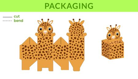 Adorable DIY party favor box for birthdays, baby showers with cute giraffe for sweets, candies, small presents. Printable color scheme. Print, cut out, fold, glue. Vector stock illustration. Ilustração