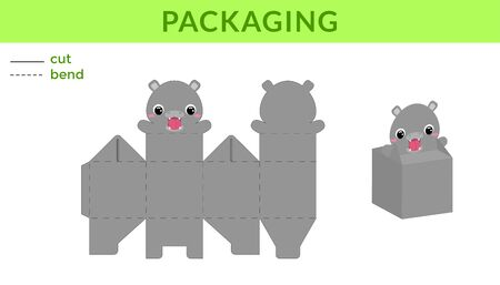 Adorable DIY party favor box for birthdays, baby showers with cute hippo for sweets, candies, small presents. Printable color scheme. Print, cut out, fold, glue. Vector stock illustration.