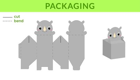 Adorable DIY party favor box for birthdays, baby showers with cute rhino for sweets, candies, small presents. Printable color scheme. Print, cut out, fold, glue. Vector stock illustration.