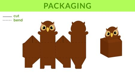 Adorable DIY party favor box for birthdays, baby showers with cute owl for sweets, candies, small presents. Printable color scheme. Print, cut out, fold, glue. Vector stock illustration. Ilustração