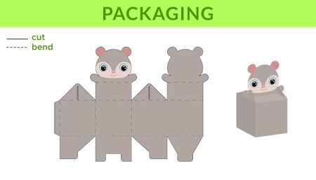 Adorable DIY party favor box for birthdays, baby showers with cute opossum for sweets, candies, small presents. Printable color scheme. Print, cut out, fold, glue. Vector stock illustration.