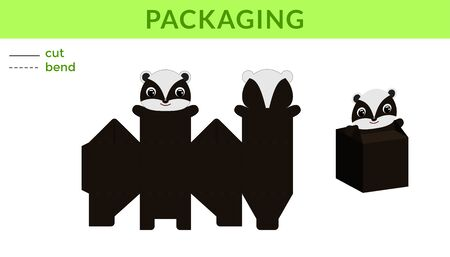 Adorable DIY party favor box for birthdays, baby showers with cute badger for sweets, candies, small presents. Printable color scheme. Print, cut out, fold, glue. Vector stock illustration. Ilustração