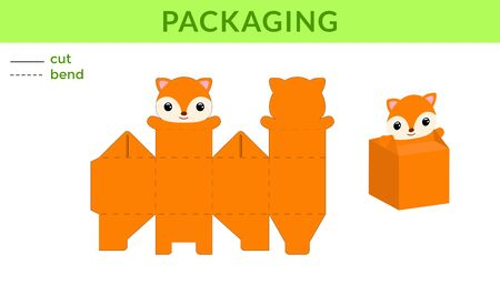 Adorable DIY party favor box for birthdays, baby showers with cute fox for sweets, candies, small presents. Printable color scheme. Print, cut out, fold, glue. Vector stock illustration. Ilustração