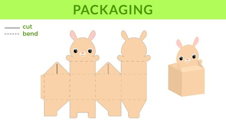 Adorable DIY party favor box for birthdays, baby showers with cute rabbit for sweets, candies, small presents. Printable color scheme. Print, cut out, fold, glue. Vector stock illustration.