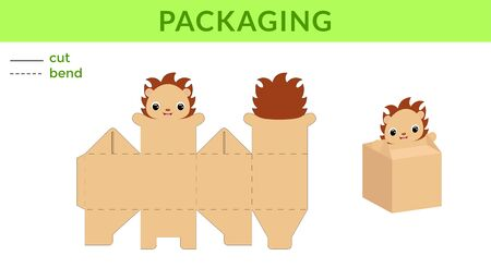 Adorable DIY party favor box for birthdays, baby showers with cute hedgehog for sweets, candies, small presents. Printable color scheme. Print, cut out, fold, glue. Vector stock illustration.