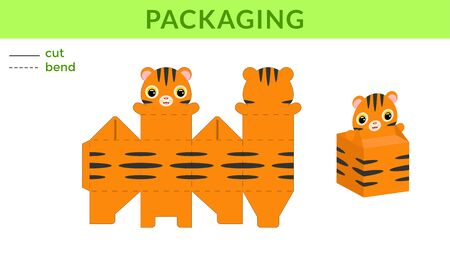 Adorable DIY party favor box for birthdays, baby showers with cute tiger for sweets, candies, small presents. Printable color scheme. Print, cut out, fold, glue. Vector stock illustration. Vettoriali