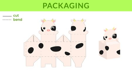 Adorable DIY party favor box for birthdays, baby showers with cute cow for sweets, candies, small presents. Printable color scheme. Print, cut out, fold, glue. Vector stock illustration.