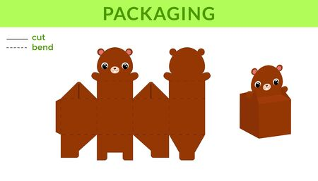 Adorable DIY party favor box for birthdays, baby showers with cute beaver for sweets, candies, small presents. Printable color scheme. Print, cut out, fold, glue. Vector stock illustration.