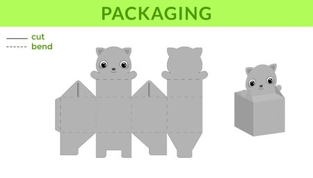 Adorable DIY party favor box for birthdays, baby showers with cute raccoon for sweets, candies, small presents. Printable color scheme. Print, cut out, fold, glue. Vector stock illustration.