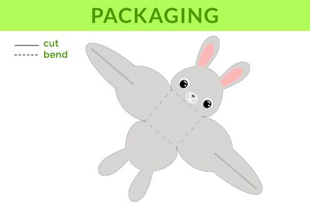 Adorable DIY party favor box for birthdays, baby showers with cute rabbit for sweets, candies, small presents, bakery. Printable color scheme. Print, cut out, fold no glue. Vector stock illustration.