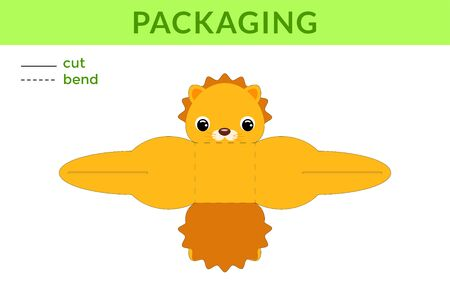 Adorable DIY party favor box for birthdays, baby showers with cute lion for sweets, candies, small presents, bakery. Printable color scheme. Print, cut out, fold no glue. Vector stock illustration.