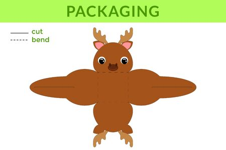Adorable DIY party favor box for birthdays, baby showers with cute moose for sweets, candies, small presents, bakery. Printable color scheme. Print, cut out, fold no glue. Vector stock illustration.