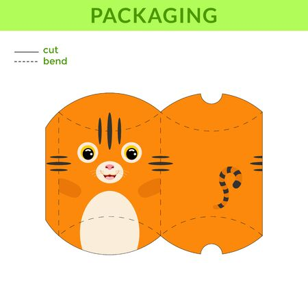 Adorable DIY party favor box for birthdays, baby showers with cute tiger for sweets, candies, small presents, bakery. Printable color scheme. Print, cut out, fold, glue. Vector stock illustration.