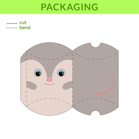 Adorable DIY party favor box for birthdays, baby showers with cute opossum for sweets, candies, small presents, bakery. Printable color scheme. Print, cut out, fold, glue. Vector stock illustration.