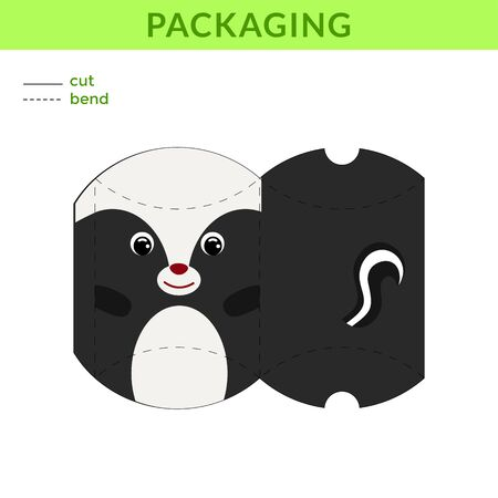 Adorable DIY party favor box for birthdays, baby showers with cute skunk for sweets, candies, small presents, bakery. Printable color scheme. Print, cut out, fold, glue. Vector stock illustration.