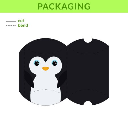 Adorable DIY party favor box for birthdays, baby showers with cute penguin for sweets, candies, small presents, bakery. Printable color scheme. Print, cut out, fold, glue. Vector stock illustration.