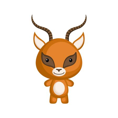 Cute funny baby gazelle isolated on white background. Wild africa adorable animal character for design of album, scrapbook, card and invitation. Flat cartoon colorful vector illustration.