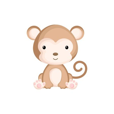 Cute funny sitting baby monkey isolated on white background. Wild african adorable animal character for design of album, scrapbook, card and invitation. Flat cartoon colorful vector illustration. Vektorgrafik
