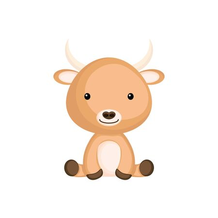 Cute funny sitting baby yak isolated on white background. Domestic adorable animal character for design of album, scrapbook, card and invitation. Flat cartoon colorful vector illustration. 向量圖像