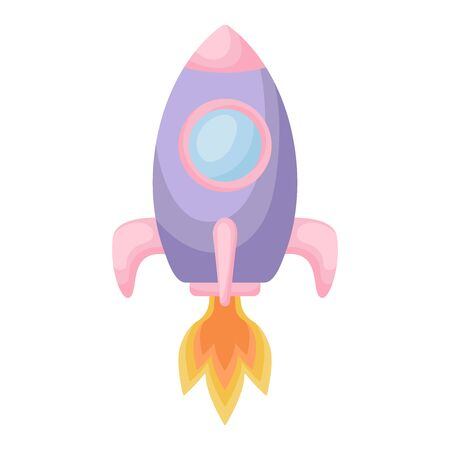 Bright cartoon purple-pink rocket with fire trace launched into space for design of album, scrapbook, card and invitation. Flat cartoon colorful vector illustration isolated on white background.