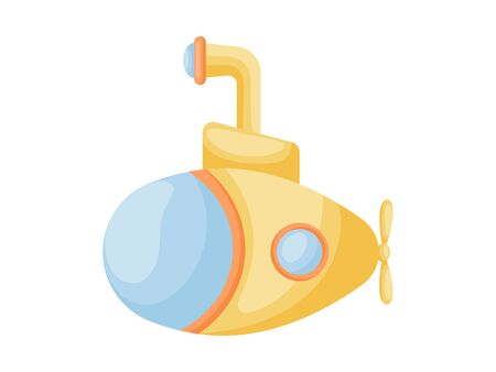 Cute cartoon yellow submarine with periscope for design of album, scrapbook, card and invitation. Flat cartoon colorful vector illustration isolated on white background.