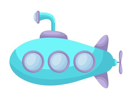 Cute cartoon turquoise-purple  submarine with periscope for design of album, scrapbook, card and invitation. Flat cartoon colorful vector illustration isolated on white background.