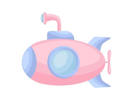 Cute cartoon pink submarine with periscope for design of album, scrapbook, card and invitation. Flat cartoon colorful vector illustration isolated on white background.