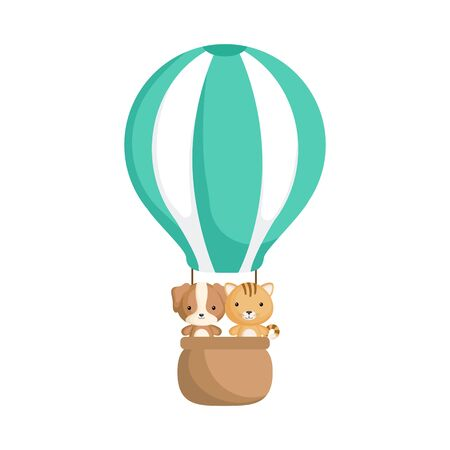 Cute baby dog and cat in the hot air balloon. Graphic element for childrens book, album, scrapbook, postcard, invitation, mobile game. Flat vector stock illustration isolated on white background.