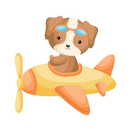 Cute dog pilot wearing aviator goggles flying an airplane. Graphic element for childrens book, album, scrapbook, postcard, mobile game. Flat vector stock illustration isolated on white background.