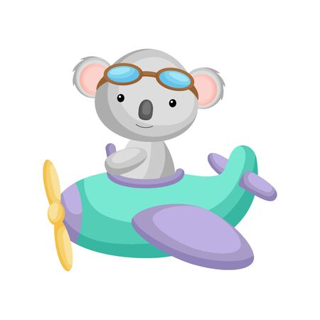 Cute koala pilot wearing aviator goggles flying an airplane. Graphic element for childrens book, album, scrapbook, postcard, mobile game. Flat vector stock illustration isolated on white background.