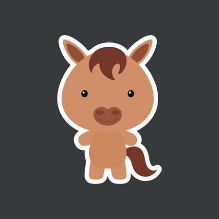 Cute funny baby horse sticker. Domestic adorable animal character for design of album, scrapbook, card, poster, invitation. Flat cartoon colorful vector illustration. Ilustração