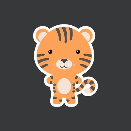 Cute funny baby tiger sticker. Jungle adorable animal character for design of album, scrapbook, card, poster, invitation. Flat cartoon colorful vector illustration.