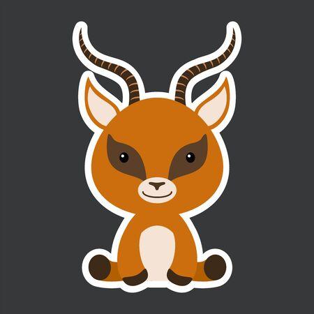 Sticker of cute baby gazelle sitting. Adorable safari animal character for design of album, scrapbook, card, poster, invitation. Flat cartoon colorful vector illustration. Illustration