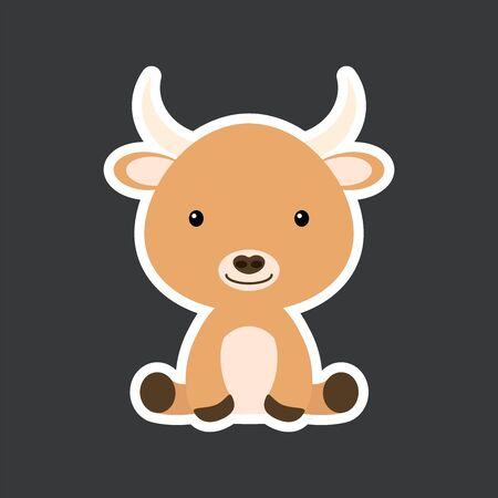 Sticker of cute baby yak sitting. Adorable domestic animal character for design of album, scrapbook, card, poster, invitation. Flat cartoon colorful vector illustration.