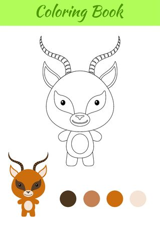 Coloring page happy little baby gazelle. Coloring book for kids. Educational activity for preschool years kids and toddlers with cute animal. Flat cartoon colorful vector illustration. Illustration