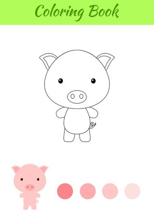 Coloring page happy little baby pig. Coloring book for kids. Educational activity for preschool years kids and toddlers with cute animal. Flat cartoon colorful vector illustration.