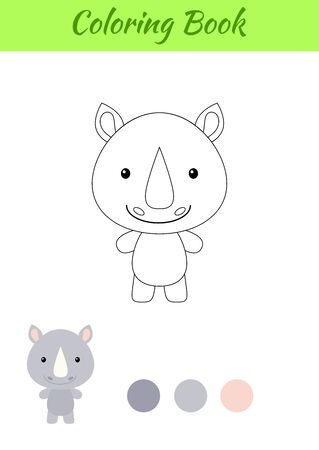 Coloring page happy little baby rhino. Coloring book for kids. Educational activity for preschool years kids and toddlers with cute animal. Flat cartoon colorful vector illustration.
