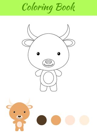 Coloring page happy little baby yak. Coloring book for kids. Educational activity for preschool years kids and toddlers with cute animal. Flat cartoon colorful vector illustration.